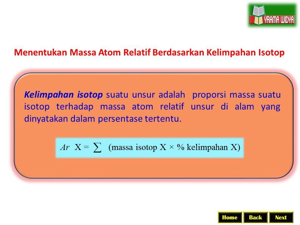 Menentukan Massa Atom Relatif Berdasarkan Kelimpahan Isotop Kelimpahan isotop suatu unsur adalah proporsi massa suatu isotop terhadap massa atom relat