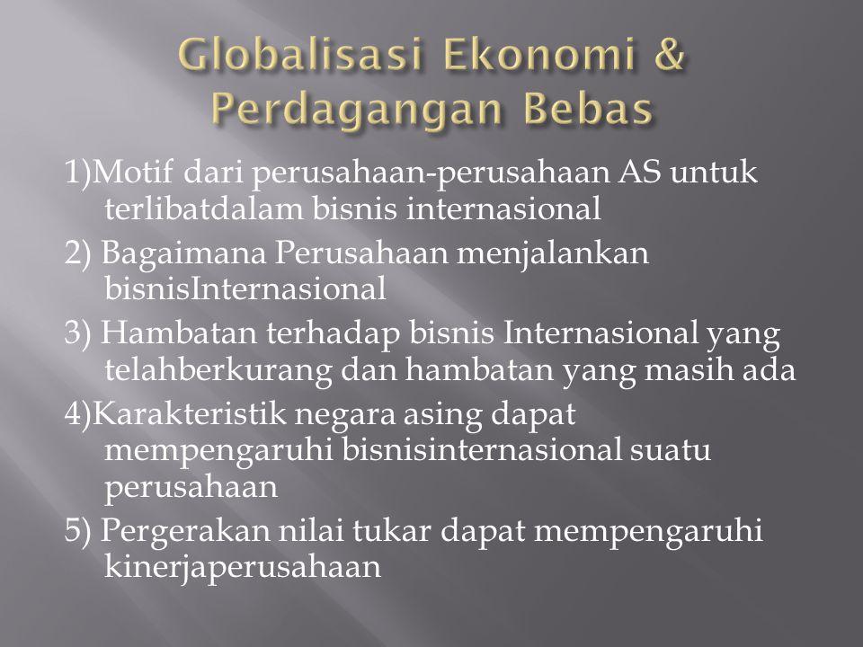 1)Motif dari perusahaan-perusahaan AS untuk terlibatdalam bisnis internasional 2) Bagaimana Perusahaan menjalankan bisnisInternasional 3) Hambatan terhadap bisnis Internasional yang telahberkurang dan hambatan yang masih ada 4)Karakteristik negara asing dapat mempengaruhi bisnisinternasional suatu perusahaan 5) Pergerakan nilai tukar dapat mempengaruhi kinerjaperusahaan