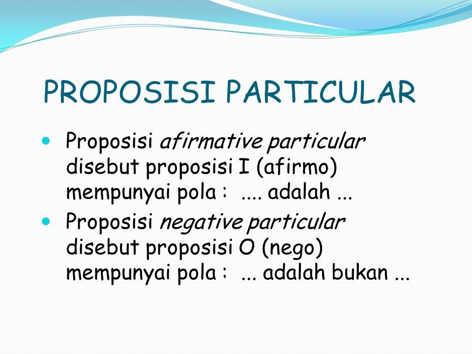 PROPOSISI PARTICULAR Proposisi afirmative particular disebut proposisi I (afirmo) mempunyai pola :....