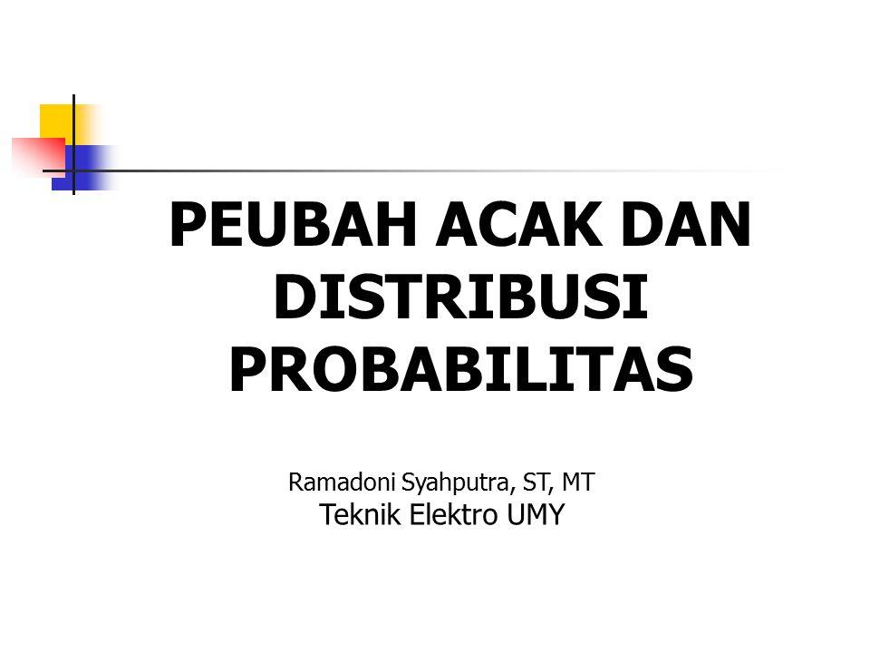 PEUBAH ACAK DAN DISTRIBUSI PROBABILITAS Ramadoni Syahputra, ST, MT Teknik Elektro UMY