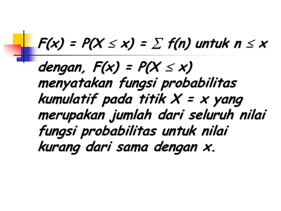 F(x) = P(X  x) =  f(n) untuk n  x dengan, F(x) = P(X  x) menyatakan fungsi probabilitas kumulatif pada titik X = x yang merupakan jumlah dari seluruh nilai fungsi probabilitas untuk nilai kurang dari sama dengan x.
