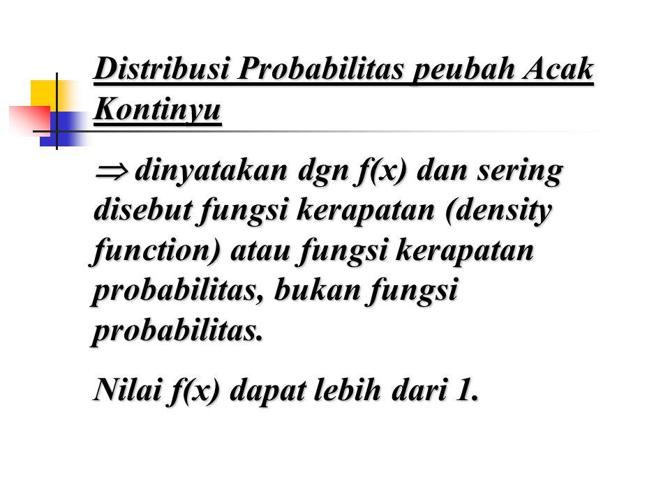 Distribusi Probabilitas peubah Acak Kontinyu  dinyatakan dgn f(x) dan sering disebut fungsi kerapatan (density function) atau fungsi kerapatan probabilitas, bukan fungsi probabilitas.