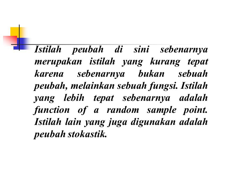 Istilah peubah di sini sebenarnya merupakan istilah yang kurang tepat karena sebenarnya bukan sebuah peubah, melainkan sebuah fungsi.