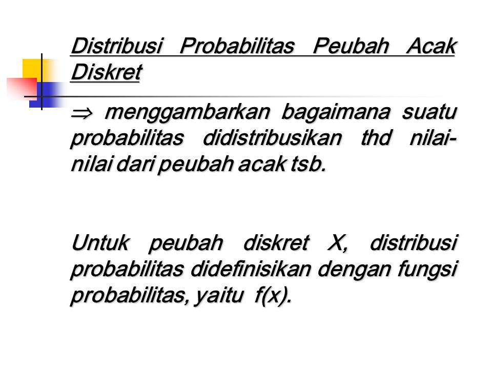 Distribusi Probabilitas Peubah Acak Diskret  menggambarkan bagaimana suatu probabilitas didistribusikan thd nilai- nilai dari peubah acak tsb. Untuk