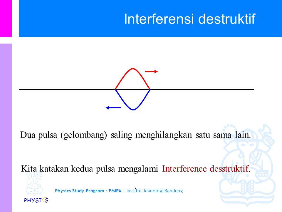 Physics Study Program - FMIPA | Institut Teknologi Bandung PHYSI S Interferensi destruktif Dua pulsa (gelombang) saling menghilangkan satu sama lain.