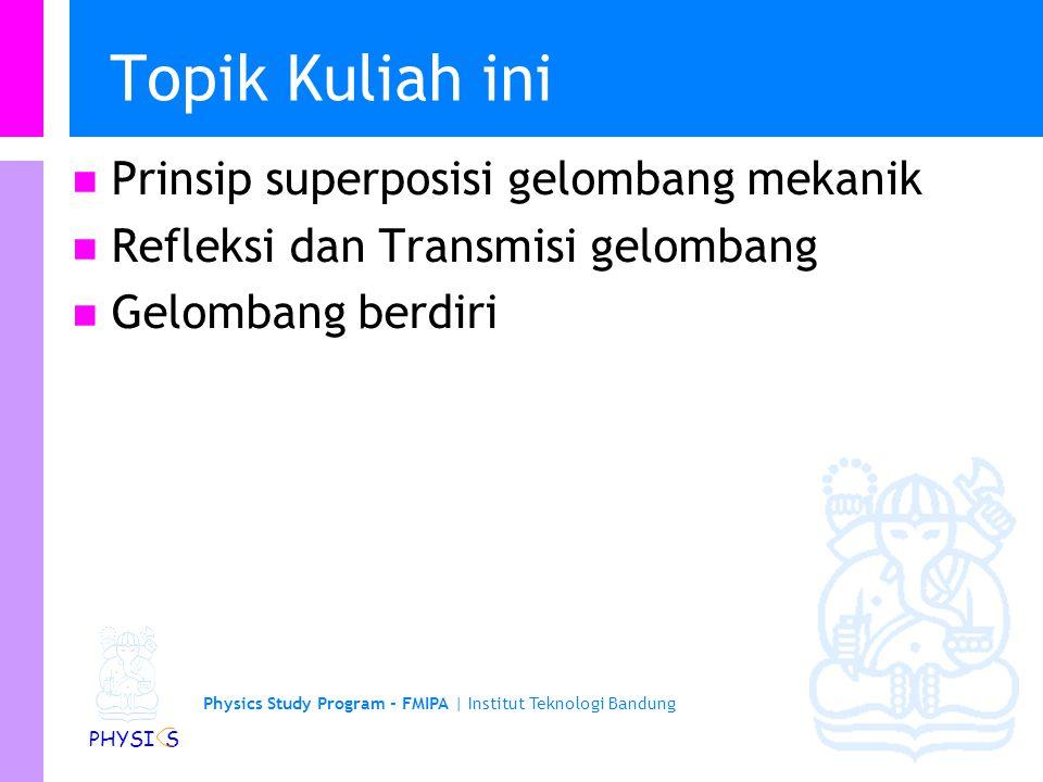 Physics Study Program - FMIPA | Institut Teknologi Bandung PHYSI S Topik Kuliah ini Prinsip superposisi gelombang mekanik Refleksi dan Transmisi gelom