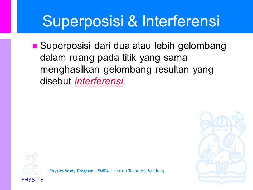 Physics Study Program - FMIPA | Institut Teknologi Bandung PHYSI S Superposisi & Interferensi Superposisi dari dua atau lebih gelombang dalam ruang pa