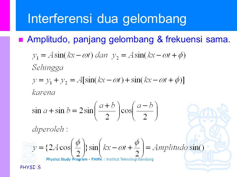Physics Study Program - FMIPA | Institut Teknologi Bandung PHYSI S Interferensi dua gelombang Amplitudo, panjang gelombang & frekuensi sama.