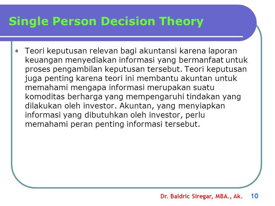Dr. Baldric Siregar, MBA., Ak. 10 Teori keputusan relevan bagi akuntansi karena laporan keuangan menyediakan informasi yang bermanfaat untuk proses pe