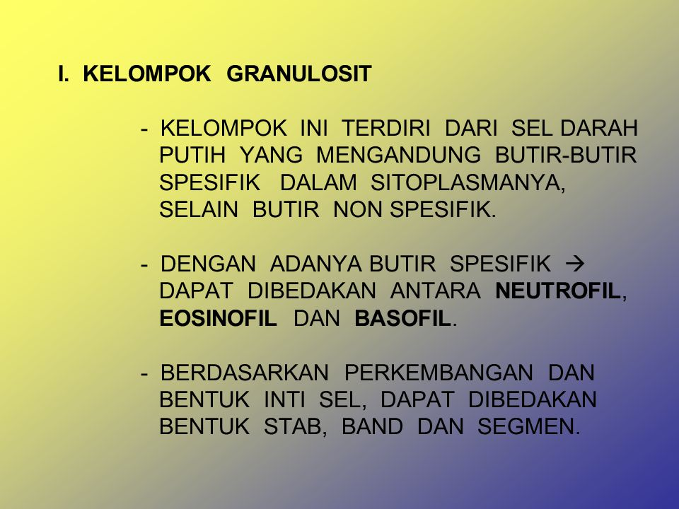 LEUKOSIT DIBENTUK DALAM SUMSUM TULANG DAN BERKEMBANG DALAM DUA ORGAN : 1.