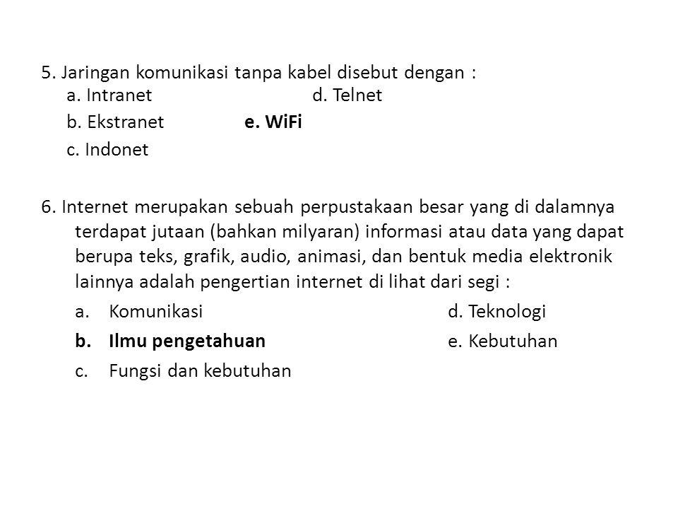 5.Jaringan komunikasi tanpa kabel disebut dengan : a.