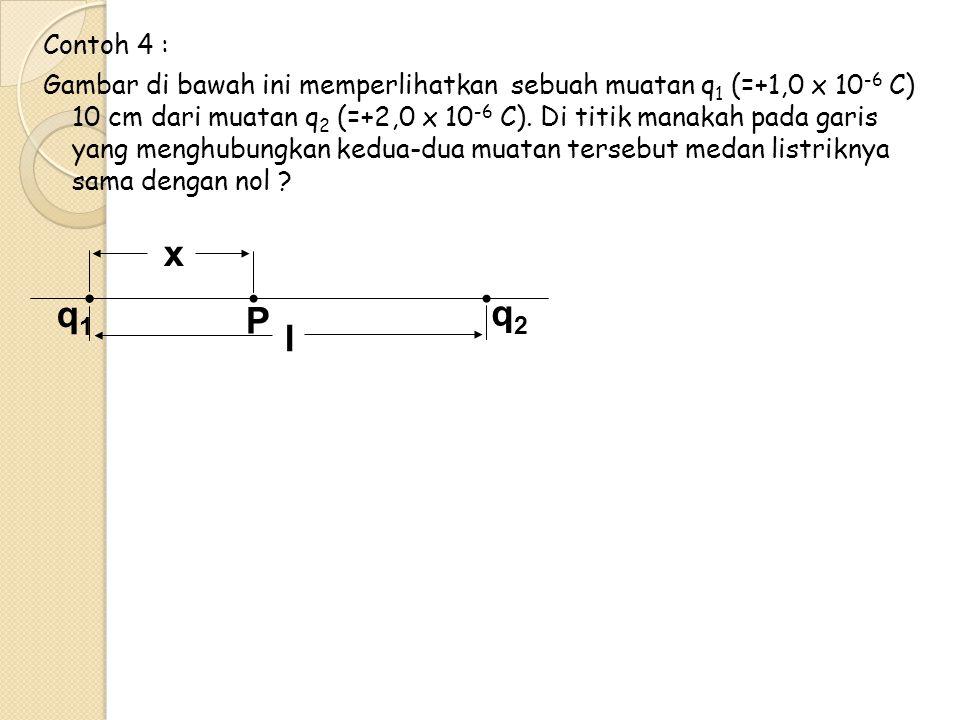 Contoh 4 : Gambar di bawah ini memperlihatkan sebuah muatan q 1 (=+1,0 x 10 -6 C) 10 cm dari muatan q 2 (=+2,0 x 10 -6 C). Di titik manakah pada garis