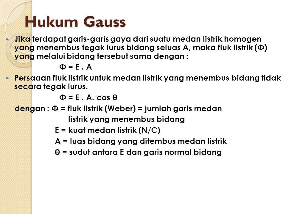 Hukum Gauss Jika terdapat garis-garis gaya dari suatu medan listrik homogen yang menembus tegak lurus bidang seluas A, maka fluk listrik (Φ) yang mela