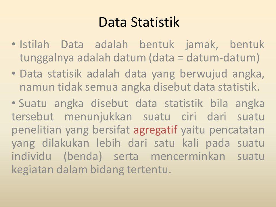 Data Statistik Istilah Data adalah bentuk jamak, bentuk tunggalnya adalah datum (data = datum-datum) Data statisik adalah data yang berwujud angka, na