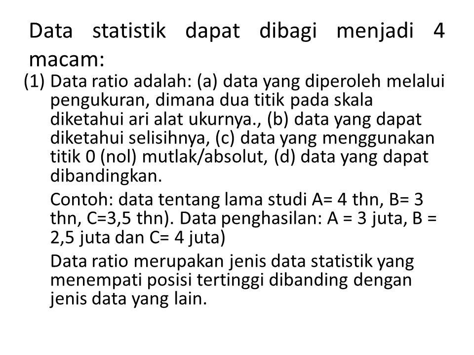 Data statistik dapat dibagi menjadi 4 macam: (1)Data ratio adalah: (a) data yang diperoleh melalui pengukuran, dimana dua titik pada skala diketahui a