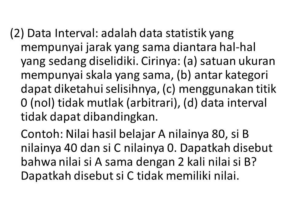 (2) Data Interval: adalah data statistik yang mempunyai jarak yang sama diantara hal-hal yang sedang diselidiki. Cirinya: (a) satuan ukuran mempunyai