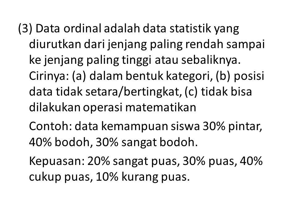 (3) Data ordinal adalah data statistik yang diurutkan dari jenjang paling rendah sampai ke jenjang paling tinggi atau sebaliknya. Cirinya: (a) dalam b