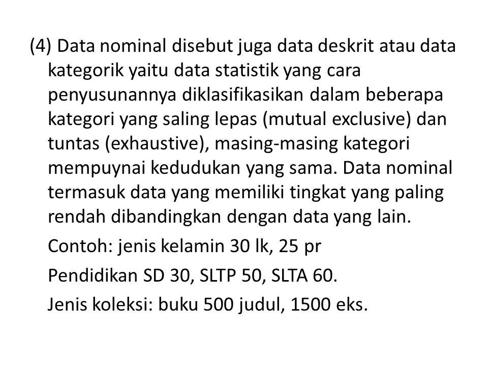 (4) Data nominal disebut juga data deskrit atau data kategorik yaitu data statistik yang cara penyusunannya diklasifikasikan dalam beberapa kategori y