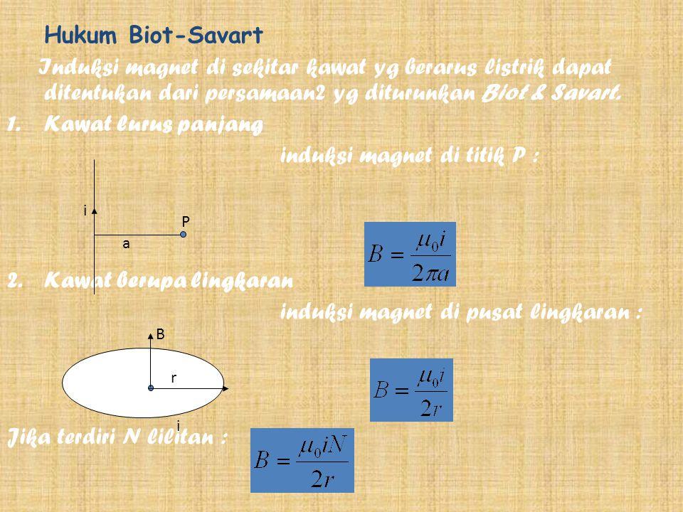 Hukum Biot-Savart Induksi magnet di sekitar kawat yg berarus listrik dapat ditentukan dari persamaan2 yg diturunkan Biot & Savart.