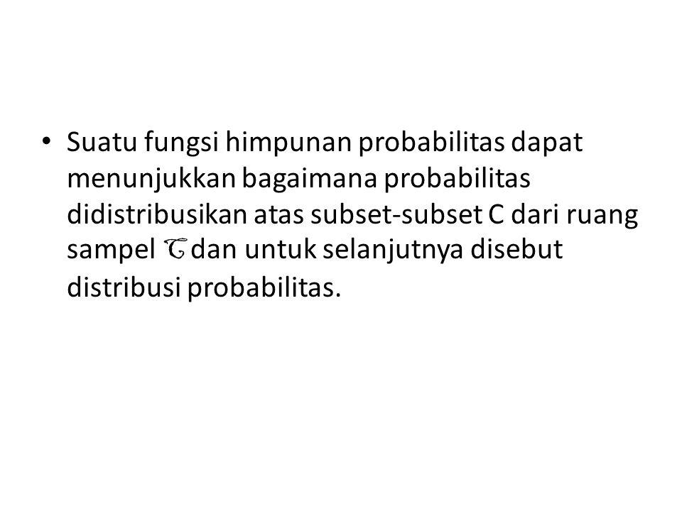 Suatu fungsi himpunan probabilitas dapat menunjukkan bagaimana probabilitas didistribusikan atas subset-subset C dari ruang sampel C dan untuk selanju