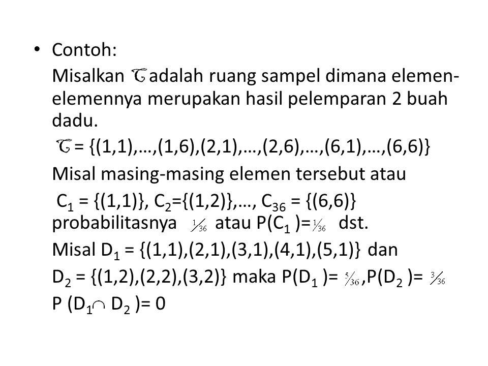 Contoh: Misalkan C adalah ruang sampel dimana elemen- elemennya merupakan hasil pelemparan 2 buah dadu. C = {(1,1),…,(1,6),(2,1),…,(2,6),…,(6,1),…,(6,