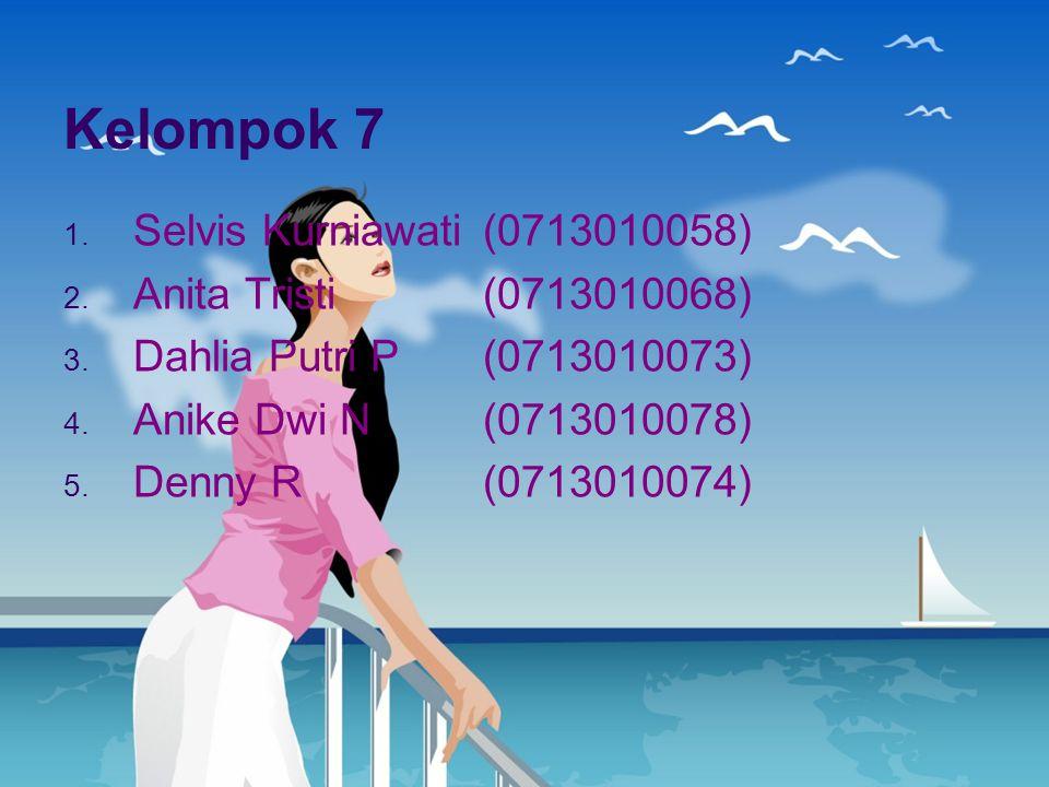 Kelompok 7 1. Selvis Kurniawati(0713010058) 2. Anita Tristi(0713010068) 3. Dahlia Putri P(0713010073) 4. Anike Dwi N(0713010078) 5. Denny R(0713010074
