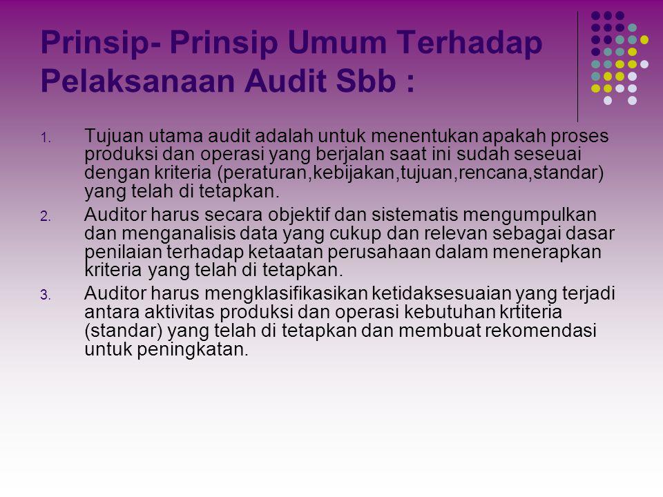 Prinsip- Prinsip Umum Terhadap Pelaksanaan Audit Sbb : 1. Tujuan utama audit adalah untuk menentukan apakah proses produksi dan operasi yang berjalan