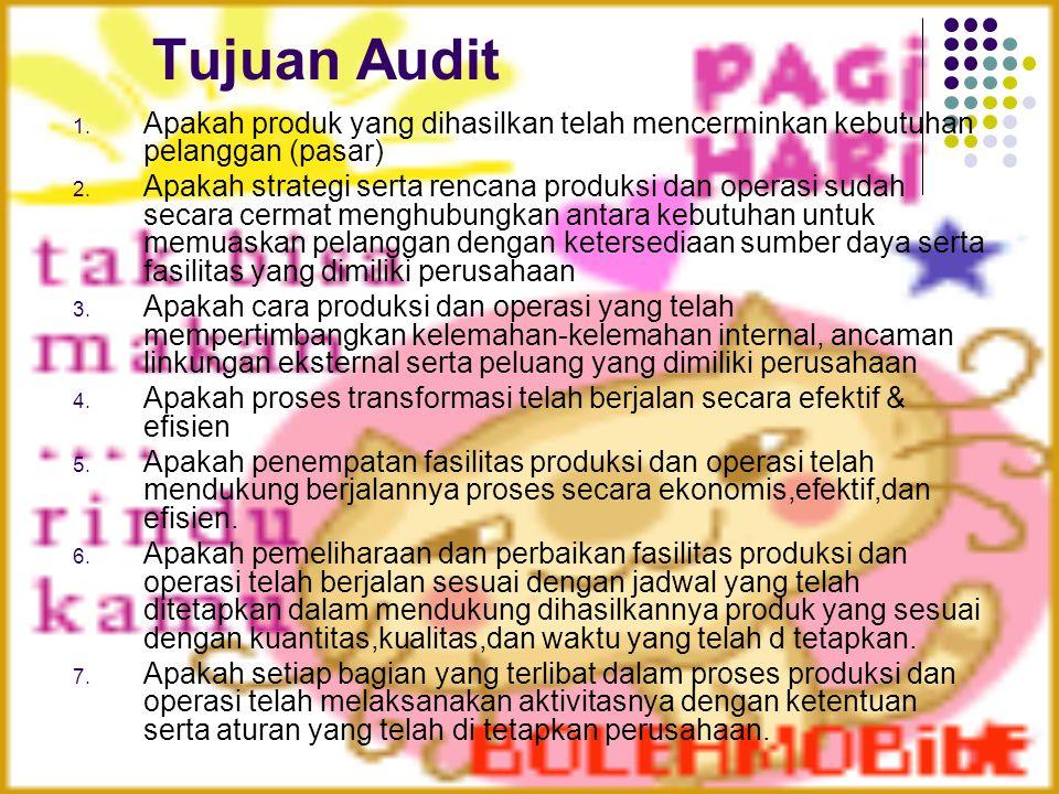 Tujuan Audit 1. Apakah produk yang dihasilkan telah mencerminkan kebutuhan pelanggan (pasar) 2. Apakah strategi serta rencana produksi dan operasi sud