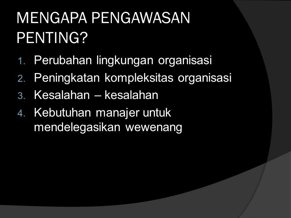MENGAPA PENGAWASAN PENTING.1. Perubahan lingkungan organisasi 2.