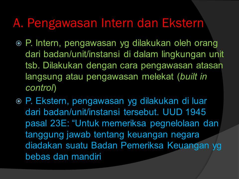 B.Pengawasan Preventif dan Represif  P. Preventif = sebelum kegiatan dilaksanakan  P.