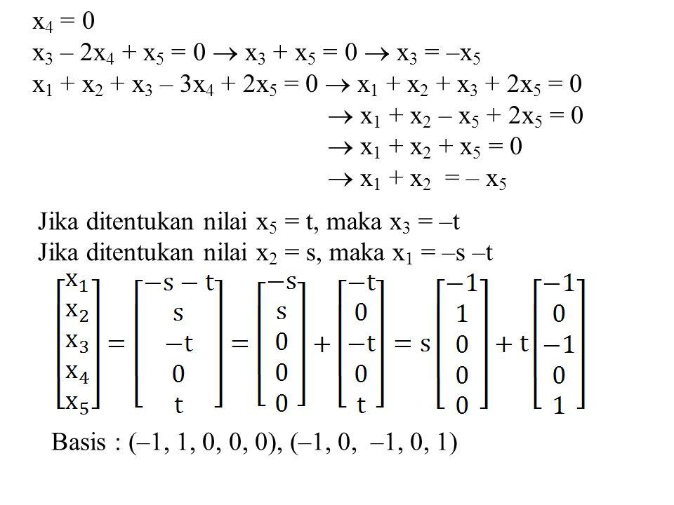 x 4 = 0 x 3 – 2x 4 + x 5 = 0  x 3 + x 5 = 0  x 3 = –x 5 x 1 + x 2 + x 3 – 3x 4 + 2x 5 = 0  x 1 + x 2 + x 3 + 2x 5 = 0  x 1 + x 2 – x 5 + 2x 5 = 0