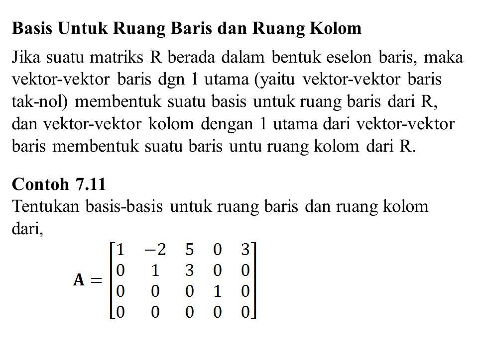 Basis Untuk Ruang Baris dan Ruang Kolom Jika suatu matriks R berada dalam bentuk eselon baris, maka vektor-vektor baris dgn 1 utama (yaitu vektor-vekt