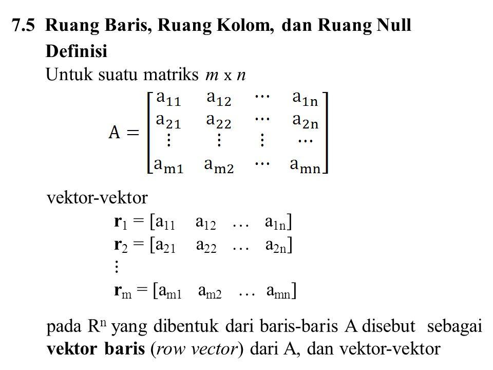 pada R m yang dibentuk dari kolom-kolom A disebut sebagai vektor kolom (column vector) dari A.