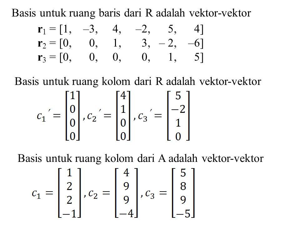 Basis untuk ruang baris dari R adalah vektor-vektor r 1 = [1, –3, 4, –2, 5, 4] r 2 = [0, 0, 1, 3, – 2, –6] r 3 = [0, 0, 0, 0, 1, 5] Basis untuk ruang