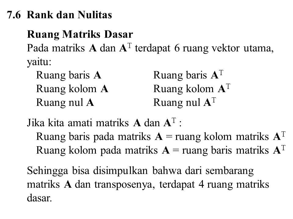 7.6 Rank dan Nulitas Ruang Matriks Dasar Pada matriks A dan A T terdapat 6 ruang vektor utama, yaitu: Ruang baris ARuang baris A T Ruang kolom ARuang