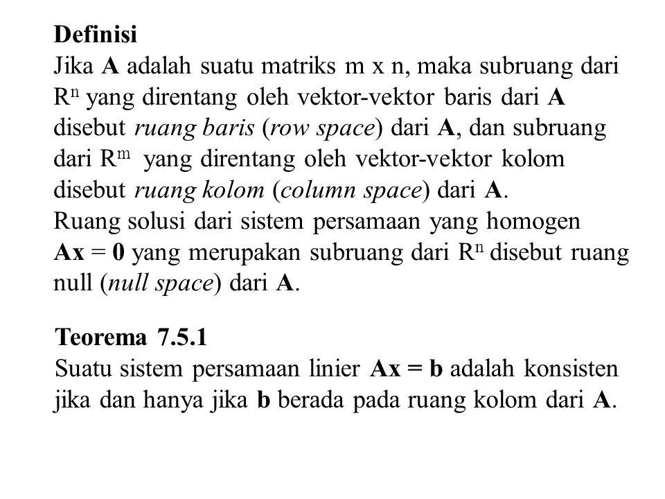 7.6 Rank dan Nulitas Ruang Matriks Dasar Pada matriks A dan A T terdapat 6 ruang vektor utama, yaitu: Ruang baris ARuang baris A T Ruang kolom ARuang kolom A T Ruang nul ARuang nul A T Jika kita amati matriks A dan A T : Ruang baris pada matriks A = ruang kolom matriks A T Ruang kolom pada matriks A = ruang baris matriks A T Sehingga bisa disimpulkan bahwa dari sembarang matriks A dan transposenya, terdapat 4 ruang matriks dasar.