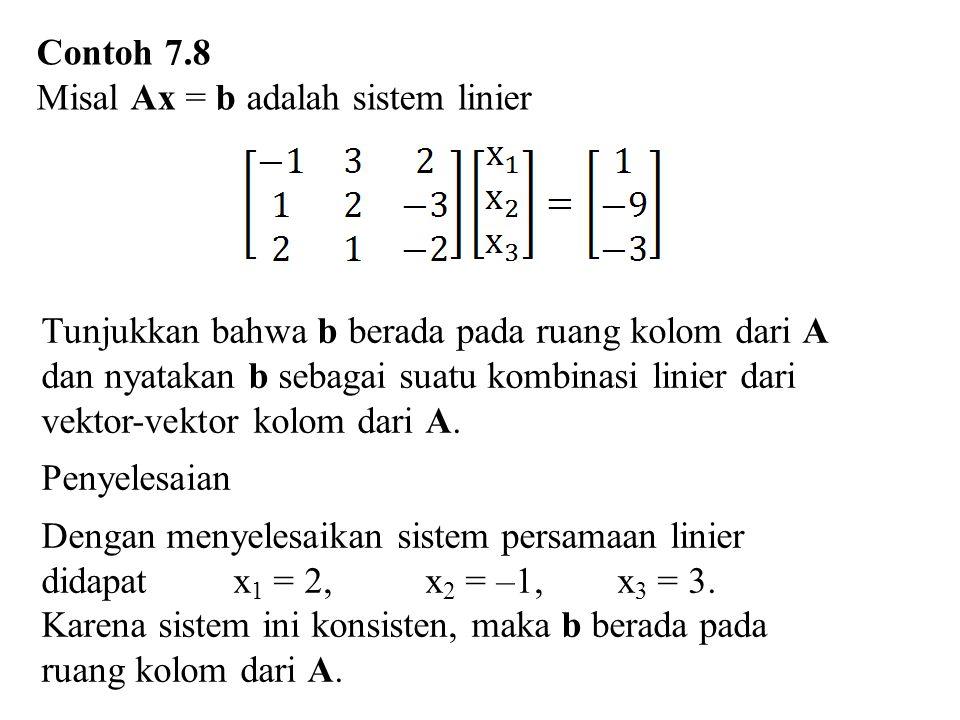 Contoh 7.8 Misal Ax = b adalah sistem linier Tunjukkan bahwa b berada pada ruang kolom dari A dan nyatakan b sebagai suatu kombinasi linier dari vekto