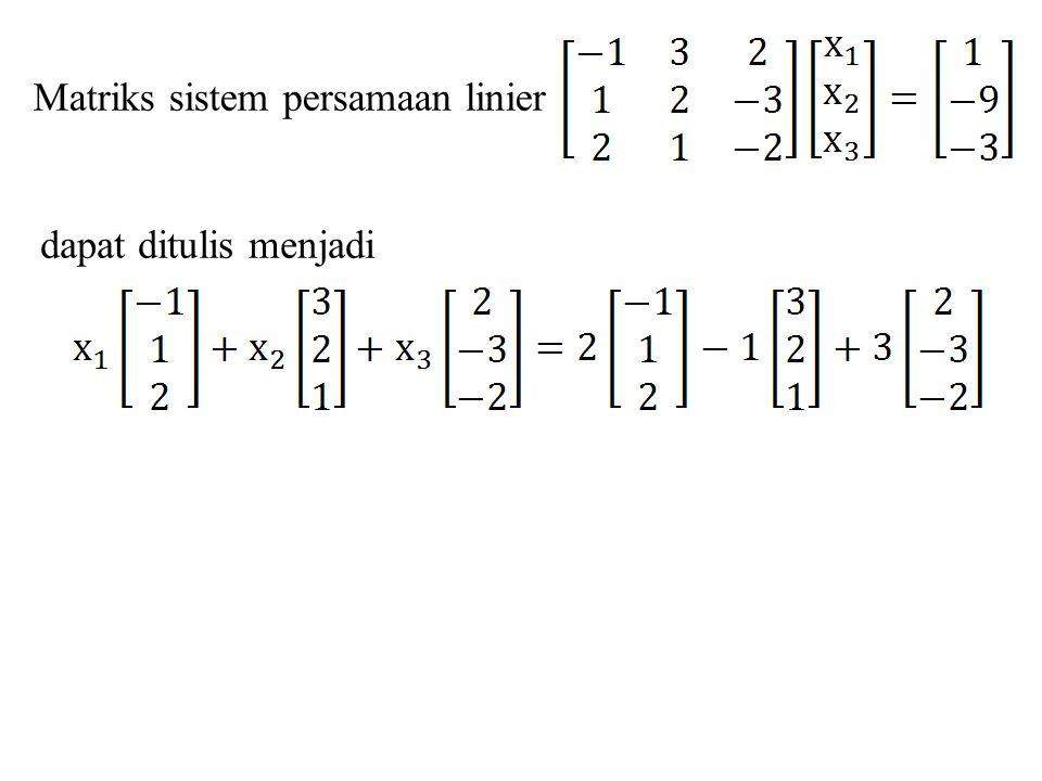 Teorema 7.5.2 Jika x 0 menotasikan solusi tunggal sembarang dari suatu sistem linier konsisten Ax = b, dan jika v 1, v 2, …, v k membentuk suatu basis untuk ruang null dari A, yaitu ruang solusi dari sistem homogen Ax = 0, maka setiap solusi dari Ax = b dapat dinyatakan dalam bentuk: x = x 0 + c 1 v 1 + c 2 v 2 + … + c k v k Vektor x 0 disebut solusi khusus dari Ax = b Vektor-vektor x 0 + c 1 v 1 + c 2 v 2 + … + c k v k disebut solusi umum dari Ax = b Vektor-vektor c 1 v 1 + c 2 v 2 + … + c k v k disebut solusi umum dari Ax = 0