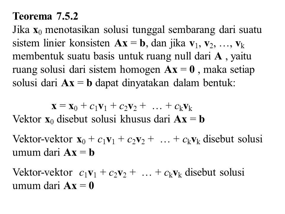 x 4 = 0 x 3 – 2x 4 + x 5 = 0  x 3 + x 5 = 0  x 3 = –x 5 x 1 + x 2 + x 3 – 3x 4 + 2x 5 = 0  x 1 + x 2 + x 3 + 2x 5 = 0  x 1 + x 2 – x 5 + 2x 5 = 0  x 1 + x 2 + x 5 = 0  x 1 + x 2 = – x 5 Jika ditentukan nilai x 5 = t, maka x 3 = –t Jika ditentukan nilai x 2 = s, maka x 1 = –s –t Basis : (–1, 1, 0, 0, 0), (–1, 0, –1, 0, 1)