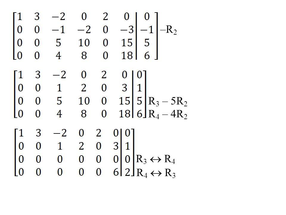 Penyelesaian r 1 = [1, –2, 5, 0, 3] r 2 = [0, 1, 3, 0, 0] r 3 = [0, 0, 0, 1, 0] Basis untuk ruang baris dari R adalah vektor-vektor Basis untuk ruang kolom dari R adalah vektor-vektor