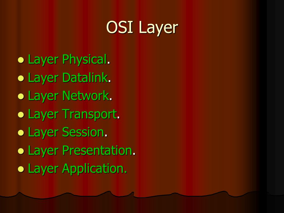 OSI Layer Layer Physical. Layer Physical. Layer Datalink. Layer Datalink. Layer Network. Layer Network. Layer Transport. Layer Transport. Layer Sessio