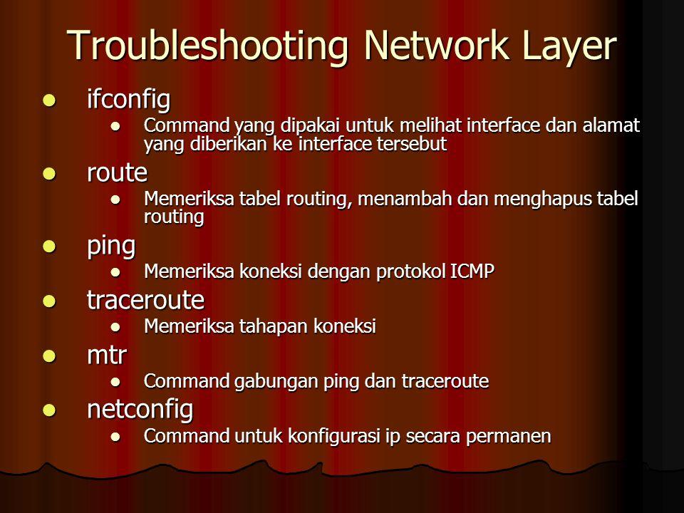 Troubleshooting Network Layer ifconfig ifconfig Command yang dipakai untuk melihat interface dan alamat yang diberikan ke interface tersebut Command y
