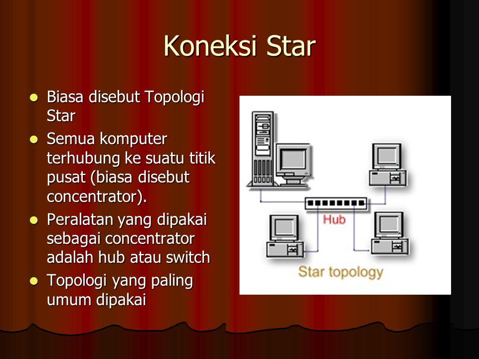 Extended Star Beberapa jaringan star digabung menjadi satu jaringan star yang besar Beberapa jaringan star digabung menjadi satu jaringan star yang besar