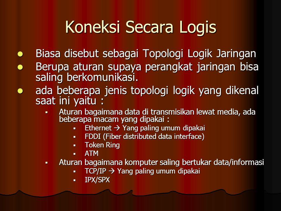 Koneksi Secara Logis Biasa disebut sebagai Topologi Logik Jaringan Biasa disebut sebagai Topologi Logik Jaringan Berupa aturan supaya perangkat jaring