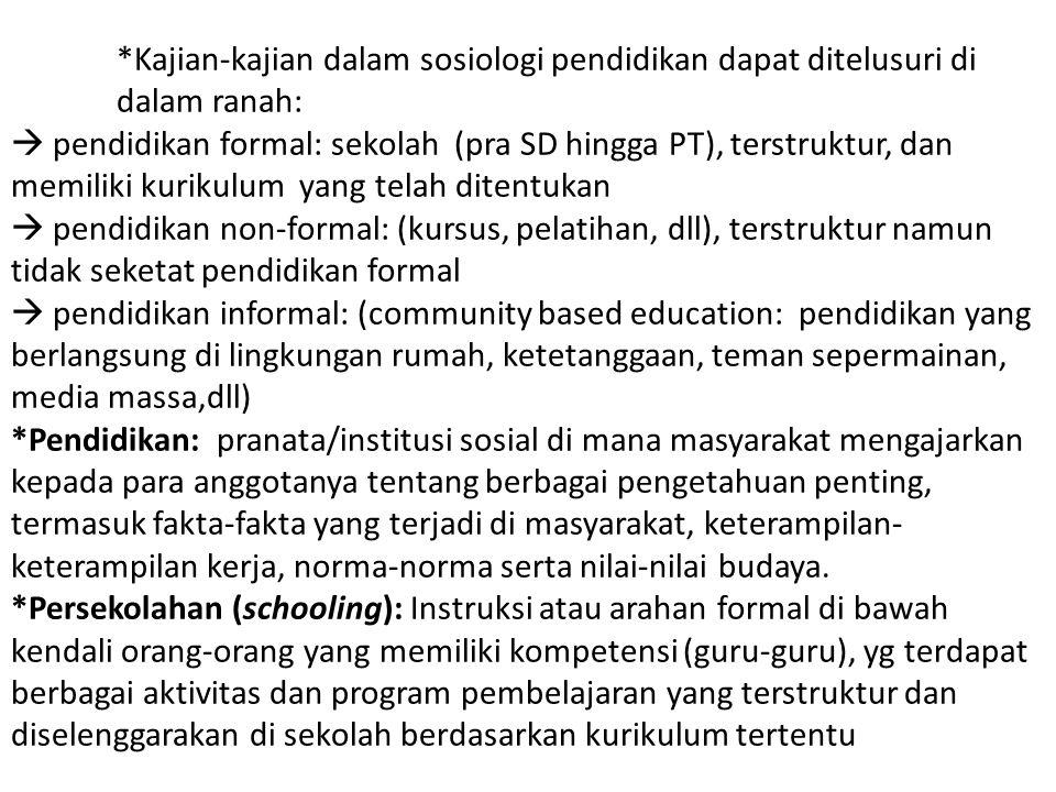*Kajian-kajian dalam sosiologi pendidikan dapat ditelusuri di dalam ranah:  pendidikan formal: sekolah (pra SD hingga PT), terstruktur, dan memiliki