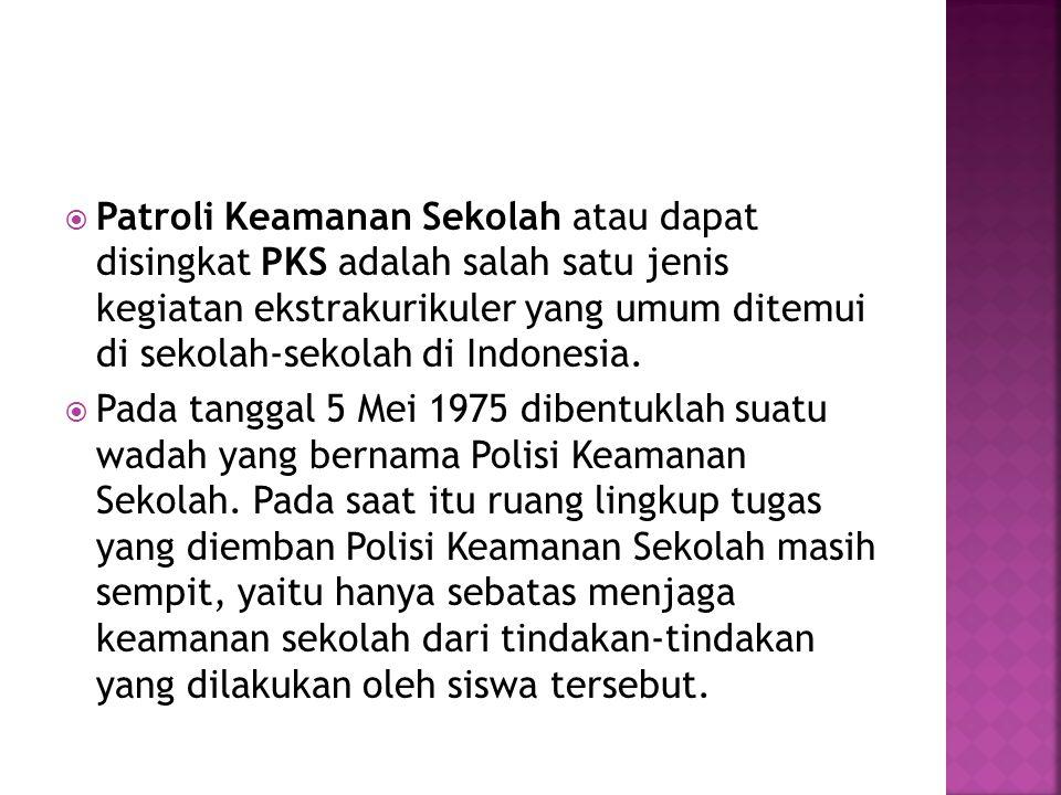  Patroli Keamanan Sekolah atau dapat disingkat PKS adalah salah satu jenis kegiatan ekstrakurikuler yang umum ditemui di sekolah-sekolah di Indonesia