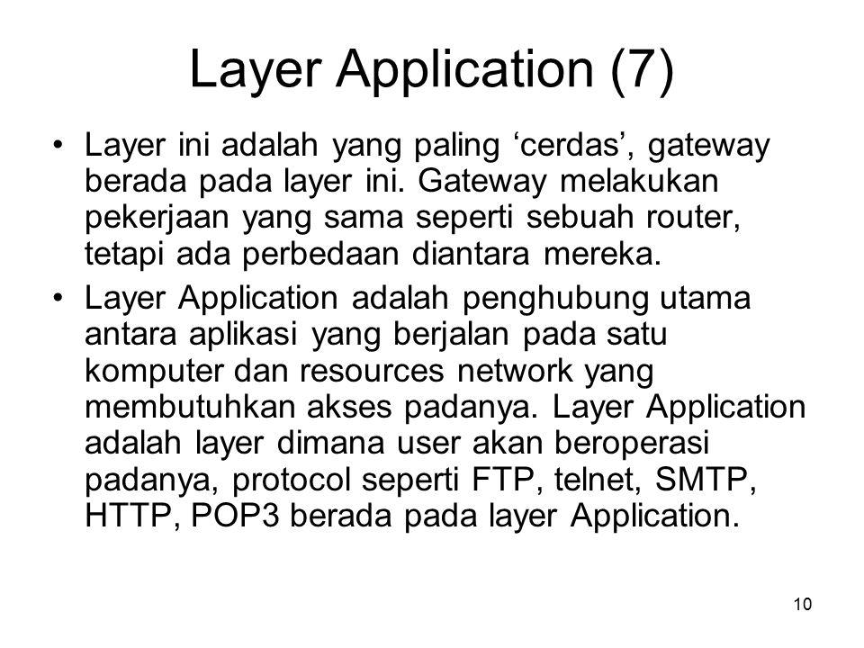 10 Layer Application (7) Layer ini adalah yang paling 'cerdas', gateway berada pada layer ini. Gateway melakukan pekerjaan yang sama seperti sebuah ro