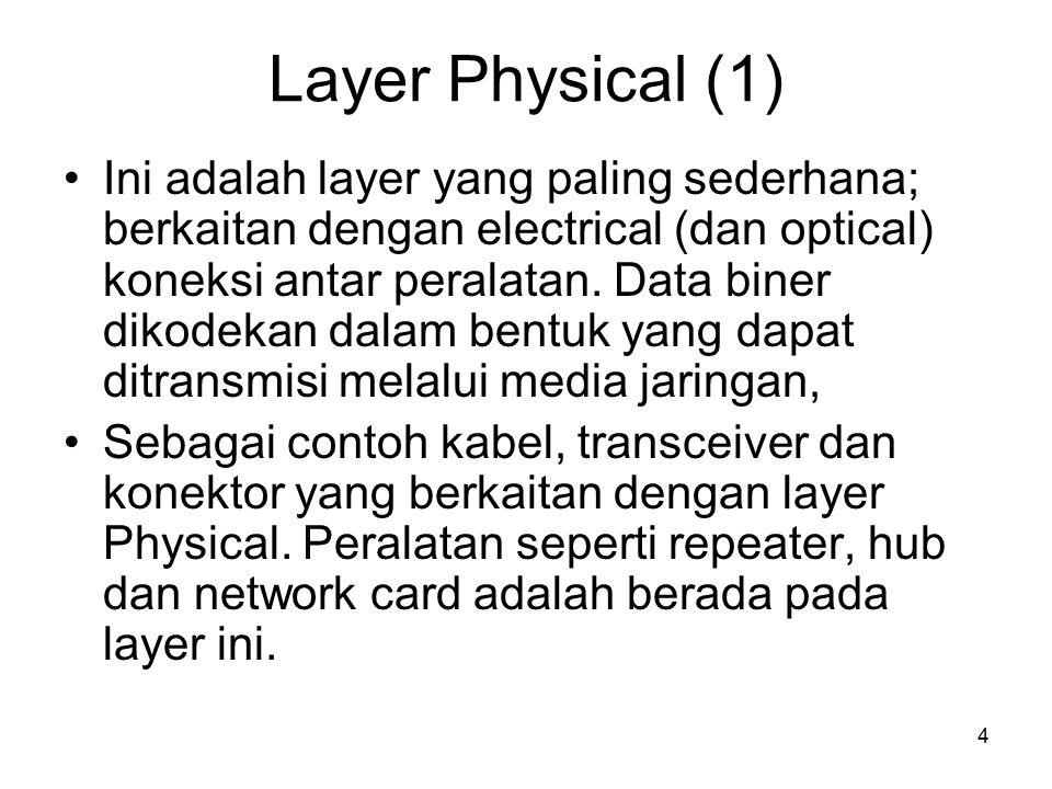 4 Layer Physical (1) Ini adalah layer yang paling sederhana; berkaitan dengan electrical (dan optical) koneksi antar peralatan. Data biner dikodekan d