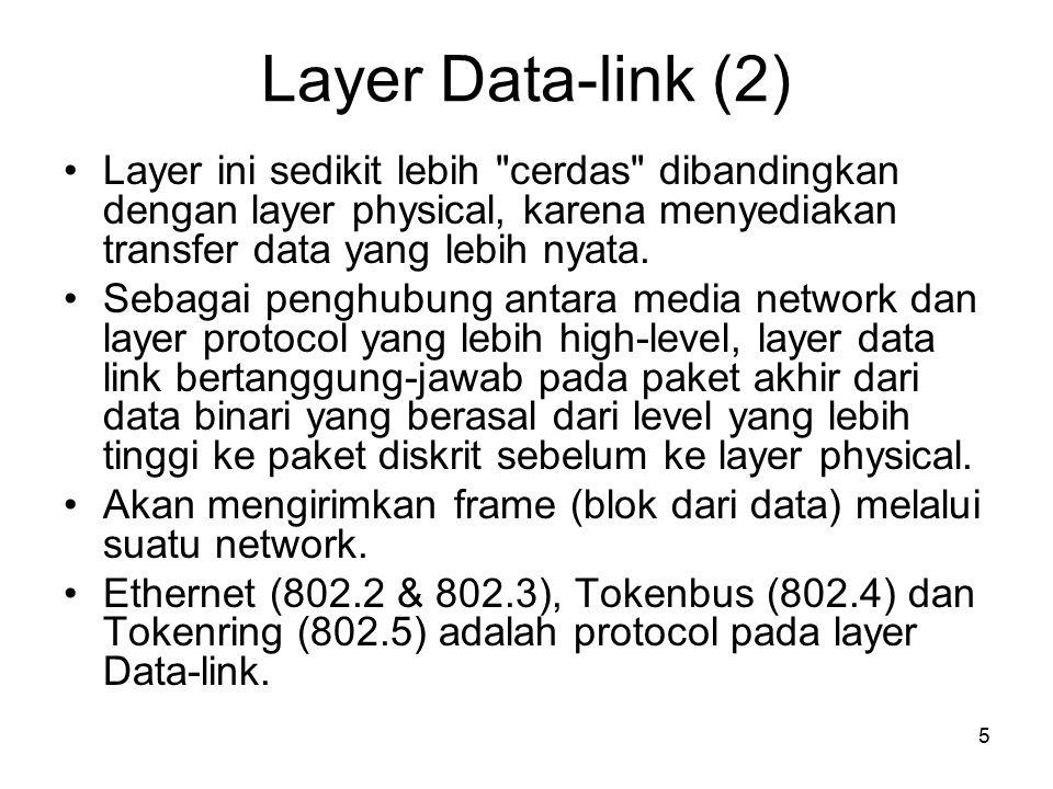 6 Tugas utama dari layer network adalah menyediakan fungsi routing sehingga paket dapat dikirim keluar dari segment network lokal ke suatu tujuan yang berada pada suatu network lain.