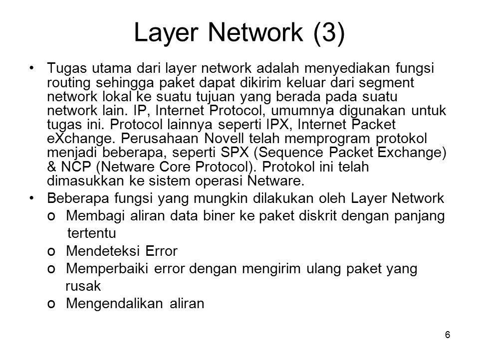 7 Layer Transport (4) Layer transport data, menggunakan protocol seperti UDP, TCP dan/atau SPX (Sequence Packet eXchange, yang satu ini digunakan oleh NetWare, tetapi khusus untuk koneksi berorientasi IPX).